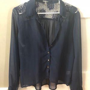 Sheer navy blue blouse